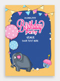 Birthday Party Invitation Card design. Birthday Party Invitation Card design with illustration of cute elephant, cupcake, balloons and buntings Stock Images