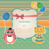 Birthday party invitation card design. Vector Hipster Animals birthday party invitation card design Stock Images