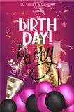 Birthday party invitation card with holiday deco elements and sparklers. Vector illustration Stock Photography
