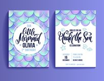 Birthday party invitation card for little girl mermaid. Holographic fish scales and lettering invitation.