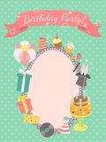 Birthday Party Invitation Card. Modern flat birthday party invitation card with birthday symbols, such as gifts, balloons, birthday cake with candles, with Stock Images