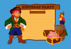 Birthday party invitation card with pirate Stock Photos