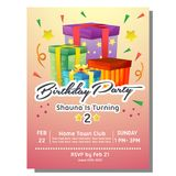 Birthday party invitation card with present box. Additional file in eps 10 Stock Photography