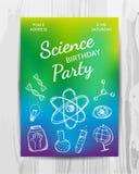 Birthday party invitation card. Science party flyer. Stock Photos