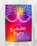 Birthday party invitation card. Teenage party flyer. Birthday party invitation card. Multicolored teenage party flyer. Vector template stock illustration