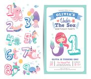 Birthday party invitation card template. With cute little mermaid, marine life cartoon character and birthday anniversary numbers vector illustration