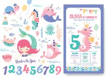 Birthday party invitation card template. With cute little mermaid, marine life cartoon character and birthday anniversary numbers stock illustration