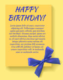 Birthday party invitation card template with blue bow. Yellow card. Royalty Free Stock Photo