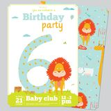Birthday Party Invitation card template with cute. Birthday anniversary numbers with cute animals and kids and Birthday Party Invitation card template in cartoon Stock Images