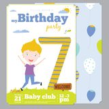 Birthday Party Invitation card template with cute Stock Photography