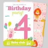 Birthday Party Invitation card template with cute. Birthday anniversary numbers with cute animals and kids and Birthday Party Invitation card template in cartoon Royalty Free Stock Photography