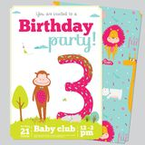 Birthday Party Invitation card template with cute. Birthday anniversary numbers with cute animals and kids and Birthday Party Invitation card template in cartoon Royalty Free Stock Photo