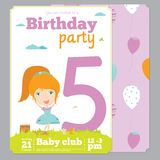 Birthday Party Invitation card template with cute Stock Photo