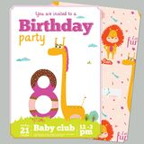 Birthday Party Invitation card template with cute. Birthday anniversary numbers with cute animals and kids and Birthday Party Invitation card template in cartoon Stock Photography