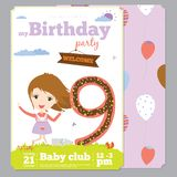 Birthday Party Invitation card template with cute. Birthday anniversary numbers with cute animals and kids and Birthday Party Invitation card template in cartoon Stock Photo