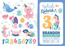 Birthday party invitation card template. With cute marine life cartoon character and birthday anniversary numbers vector illustration