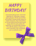 Birthday party invitation card template with purple bow. Yellow card. Stock Images