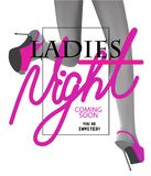 Ladies night party invitation card with pink volume letters and running woman legs. vector illustration