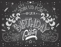 Birthday party invitation on chalkboard Stock Photography