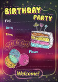 Birthday party invitation, copy space Royalty Free Stock Image