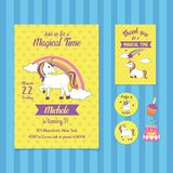Magical Time Birthday Invitation Card Template with Unicorn Illustration stock illustration