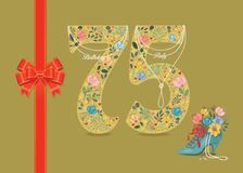 Birthday Party Invitation. Floral Number 75. Yellow number Seventy Five with folk floral decor. Pearl collar with texts as pendants - Birthday Party. Red satin stock illustration