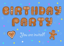 Birthday party invitation. Gingerbread font. Royalty Free Stock Photography