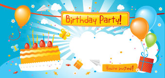 Birthday party invitation. Kids birthday party invitation with blank sign Stock Photos