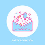 Birthday party invitation line icon. Vector logo for party service or event agency. Linear illustration of wedding. Invitation in envelope Stock Photography