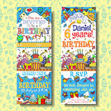 Birthday party invitation pass ticket design. Face and back sides with doodles background Royalty Free Stock Photos