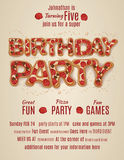 Birthday party invitation template with Pizza letters Stock Images