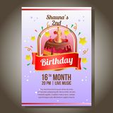 Birthday party invitation theme with birthday tart. Template of birthday party invitation theme with birthday tart Royalty Free Stock Photos