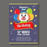 Birthday party invitation theme with clown. Additional vector eps 10 file Stock Photo