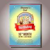 Birthday party invitation theme with sweet tart. Template of birthday party invitation theme with sweet tart Royalty Free Stock Image
