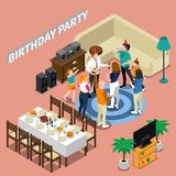 Birthday Party Isometric Composition Stock Photography