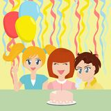 Birthday Party Kids. Birthday party with a naughty boy blowing out the birthday girl's candle Stock Images