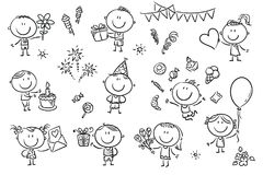 Birthday Party Kids Set. A set ot funny sketchy kids celebrating birthday party with sweets, cakes and flowers Royalty Free Stock Images