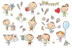 Birthday Party Kids Set. A set ot funny sketchy kids celebrating birthday party with sweets, cakes and flowers Stock Image