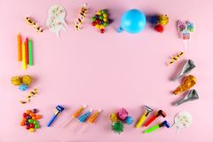 Birthday party kit with copy space royalty free stock images