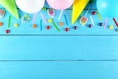 Birthday party kit with copy space stock photography