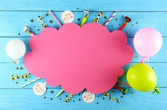 Birthday party kit with copy space stock images
