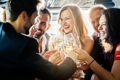 Birthday party in a limo royalty free stock image