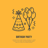 Birthday party line icon. Vector logo for party service or event agency. Linear illustration of balloons, birthday hat. And confetti Stock Photo