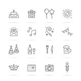 Birthday party  line icons Royalty Free Stock Images