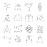 Birthday party line icons Stock Photos
