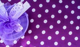 Birthday party meme background. Purple, white, polka dots stock images