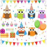 Birthday Party owls stock illustration