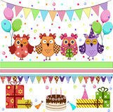 Birthday party owls set Royalty Free Stock Image