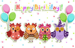 Birthday party owls set Royalty Free Stock Images