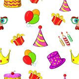 Birthday party pattern, cartoon style Stock Images